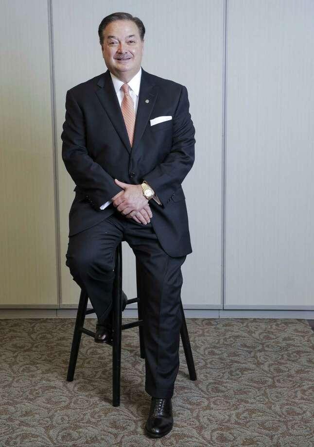 David Zalman, CEO of Prosperity Bank, sitting on a stool in his Houston office on Tuesday, May 15, 2018. (Elizabeth Conley/Houston Chronicle) Photo: Elizabeth Conley, Chronicle / Houston Chronicle / ©2018 Houston Chronicle