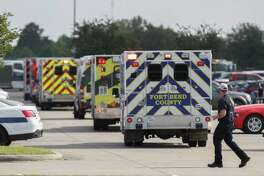 Emergency responders respond to an active shooter in front of Santa Fe High School Friday, May 18, 2018, in Santa Fe.