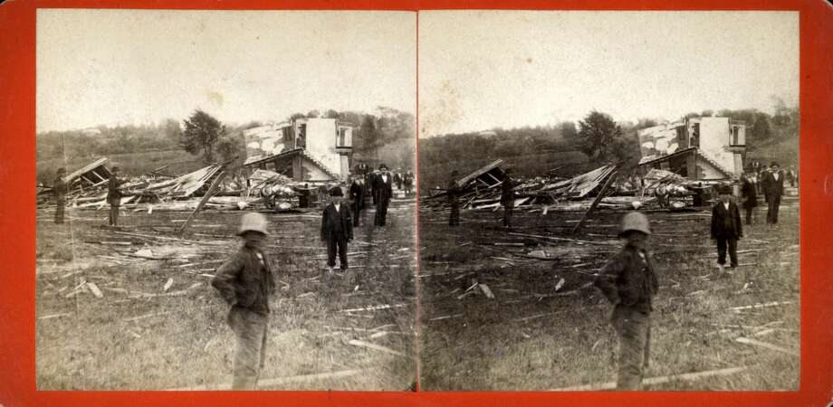 Wallingford tornado, Wallingford, Connecticut, 1878. This stereoscopic slide depicts storm damage following a tornado. From the New York Public Library. (Photo by Smith Collection/Gado/Getty Images). Photo: Smith Collection/Gado/Getty Images