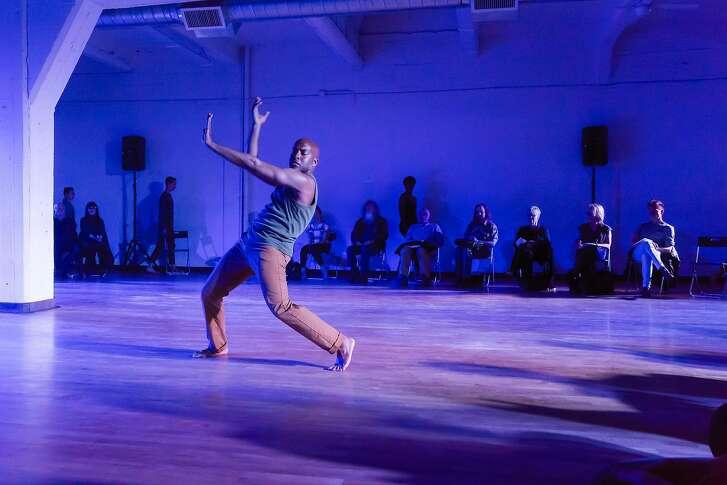 Shadows trail Corey Brady�s solo in �Toward 45,� an immersive performance by Margaret Jenkins Dance Company.