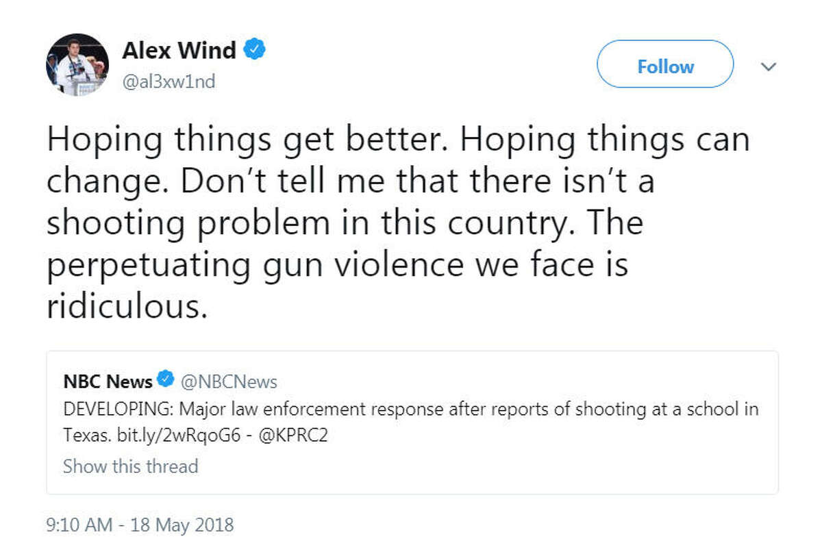 Students at Marjory Stoneman Douglas High School in Florida tweeted their thoughts on the May 18, 2018 school shooting in Santa Fe High School in Santa Fe, Texas. A shooting occurred at Stoneman Douglas High School on Feb. 14, 2018.Image source: Twitter