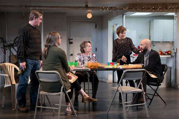 "Actors rehearsing Stephen Karam's ""The Humans"":� L-R: Richard Thomas, Pamela Reed, Daisy Eagan, Therese Plaehn, Luis Vega."