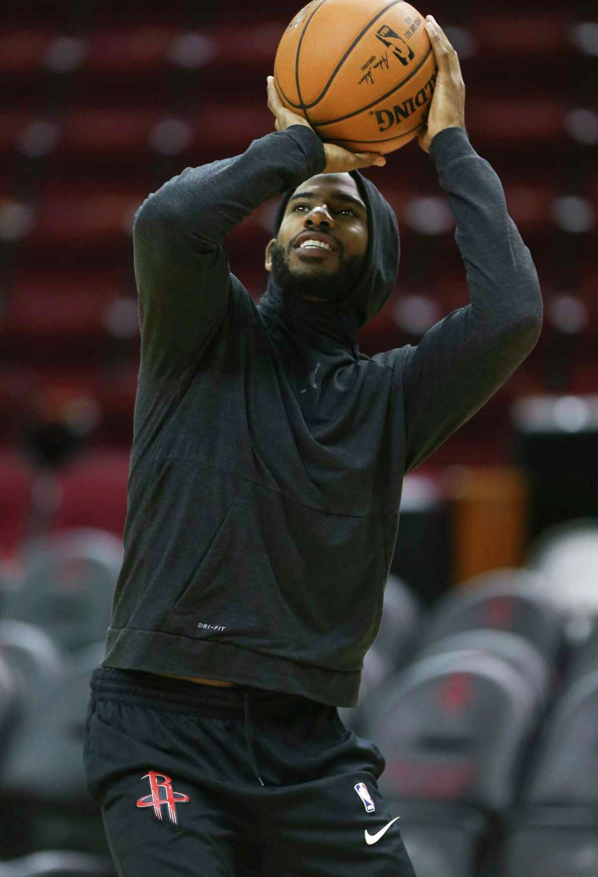 Houston Rockets' Chris Paul practices shooting the basket on the court at Toyota Center before the team takes off to Oakland on Friday, May 18, 2018, in Houston.
