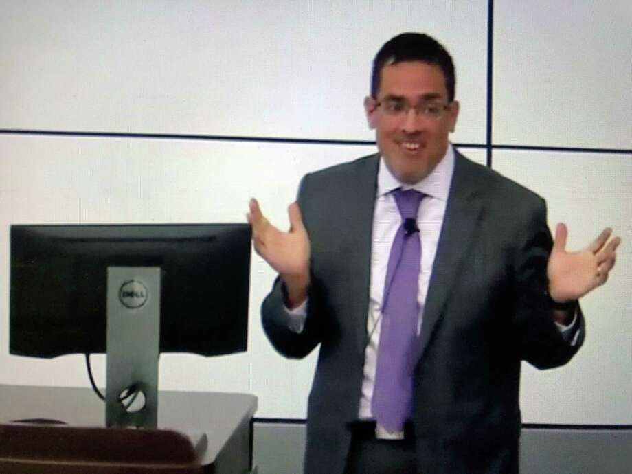 A video frame grab shows Sergio A. Garcia, the 43-year-old chief of staff and vice president at SUNYÕs renowned Upstate Medical University in Syracuse, speaking in 2017  during a diversity lecture series featured on the Upstate Medical University website. (SUNY)