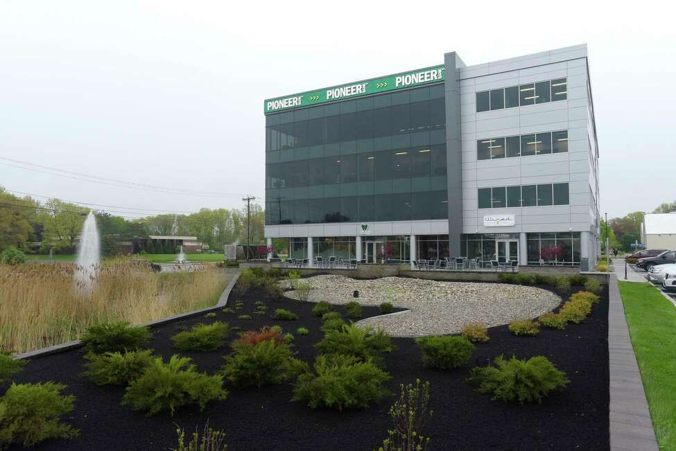 A view of the Pioneer Bank headquarters building on Wednesday, May 16, 2018, in Colonie, N.Y. (Paul Buckowski/Times Union)