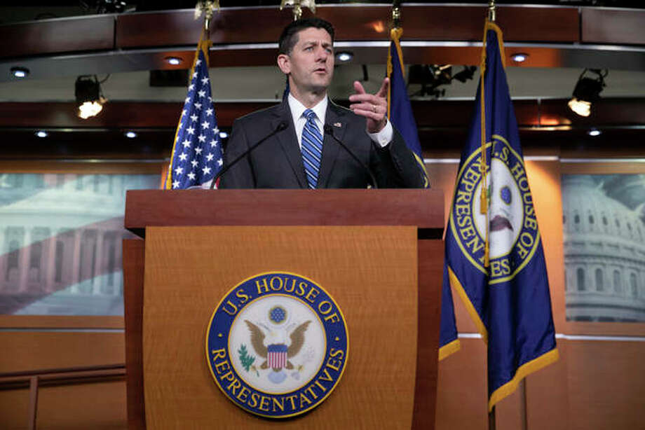 Speaker of the House Paul Ryan, R-Wis., promotes this year's renewal of the farm bill during a news conference on Capitol Hill in Washington, Thursday, May 17, 2018. GOP leaders crafted the bill as a measure for tightening work and job training requirements for food stamps. Photo:       AP Photo/J. Scott Applewhite