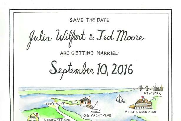 Teek Eaton-Koch, a Greenwich artist, is known for his architectural renderings, illustrations and fine arts. More recently, brides and grooms have employed his talents for personalized invites of their big day. Eaton-Koch creates individualized maps, of sorts, that serve as a geographic guide to how the couple met and what they love.