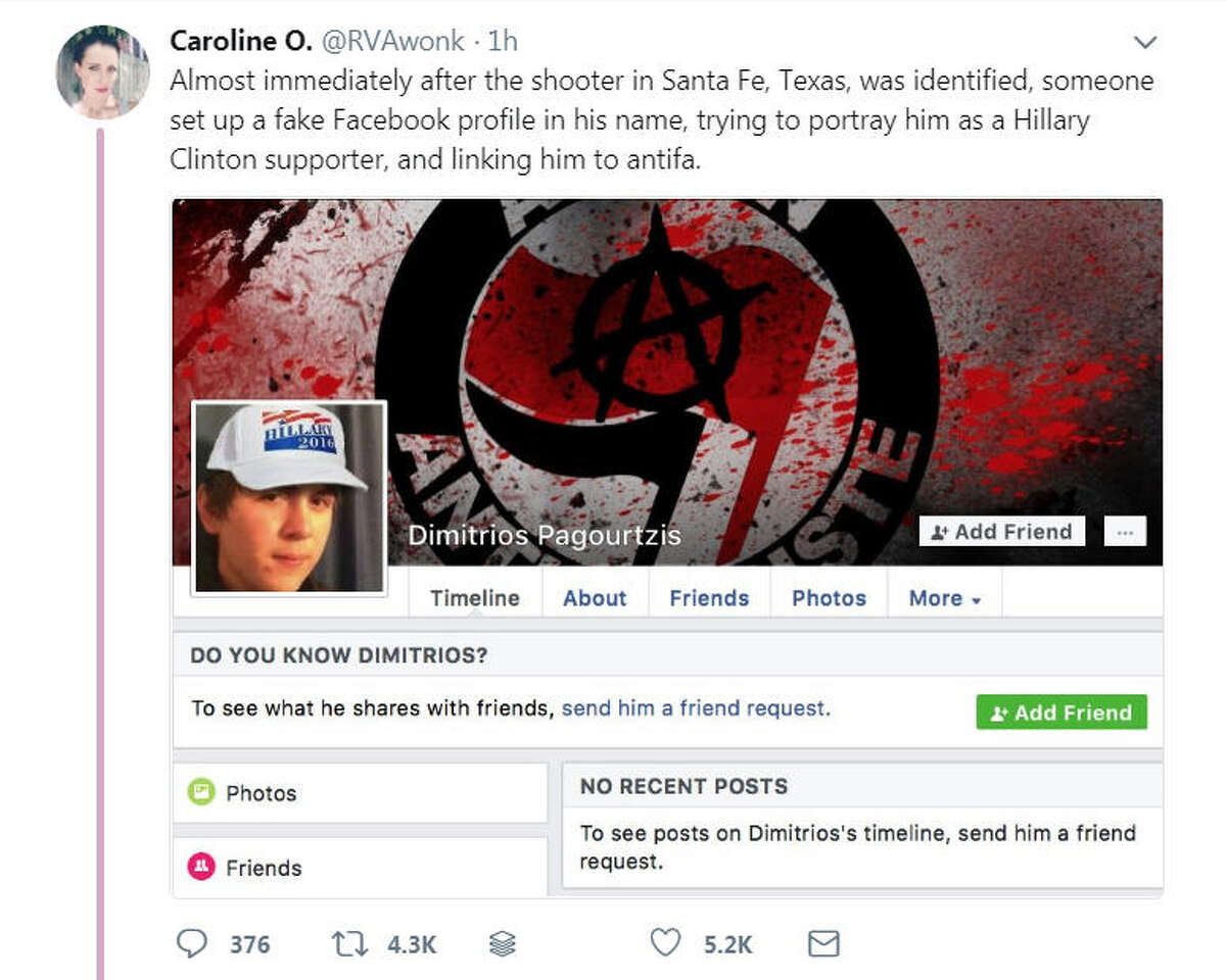 After Dimitrios Pagourtzis was identified as a suspect in the Santa Fe High School shooting on May 18, 2018, fake Facebook profiles of Pagourtzis were created. The reported fake accounts have been flagged by people on social media.Image source: Twitter