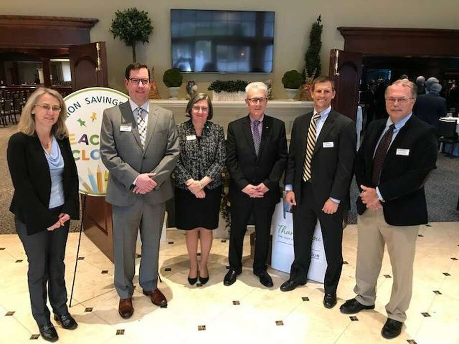 From left are Union Savings Bank's new corporators, Wanda McGarry, Zachary S. Rapp, Cynthia Merkle, Jeff Levine, Thomas J. Oneglia and Martin Handshy. Photo: Contributed Photo