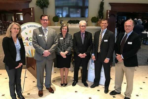 From left are Union Savings Bank's new corporators, Wanda McGarry, Zachary S. Rapp, Cynthia Merkle, Jeff Levine, Thomas J. Oneglia and Martin Handshy.