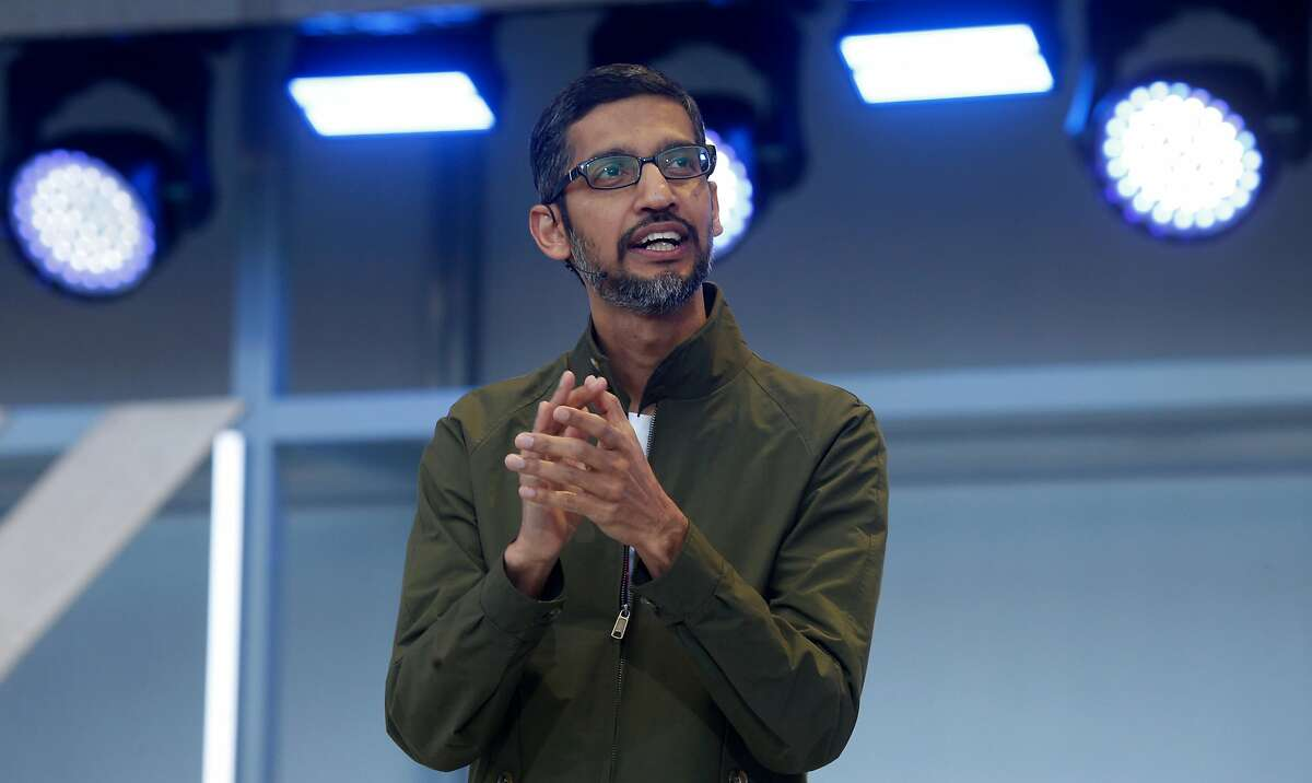 Google CEO Sundar Pichai delivers the keynote address for the Google I/O conference at the Shoreline Amphitheatre in Mountain View, Calif. on Tuesday, May 8, 2018.
