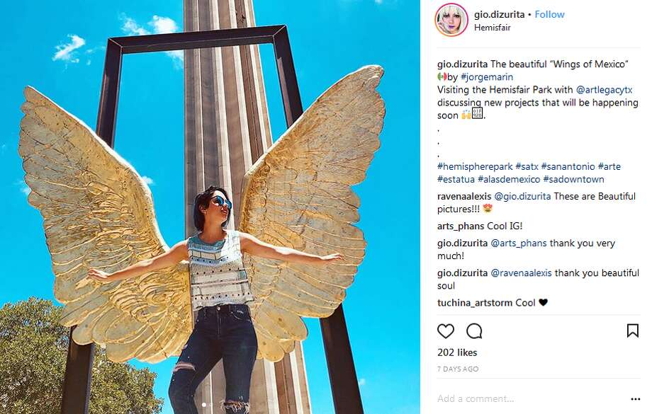 """gio.dizurita: The beautiful """"Wings of Mexico"""" by #jorgemarinVisiting the Hemisfair Park with @artlegacytx discussing new projects that will be happening soon Photo: Instagram.com Screengrabs"""