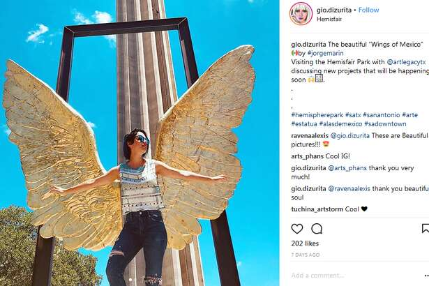 """gio.dizurita: The beautiful """"Wings of Mexico"""" by #jorgemarin Visiting the Hemisfair Park with @artlegacytx discussing new projects that will be happening soon"""