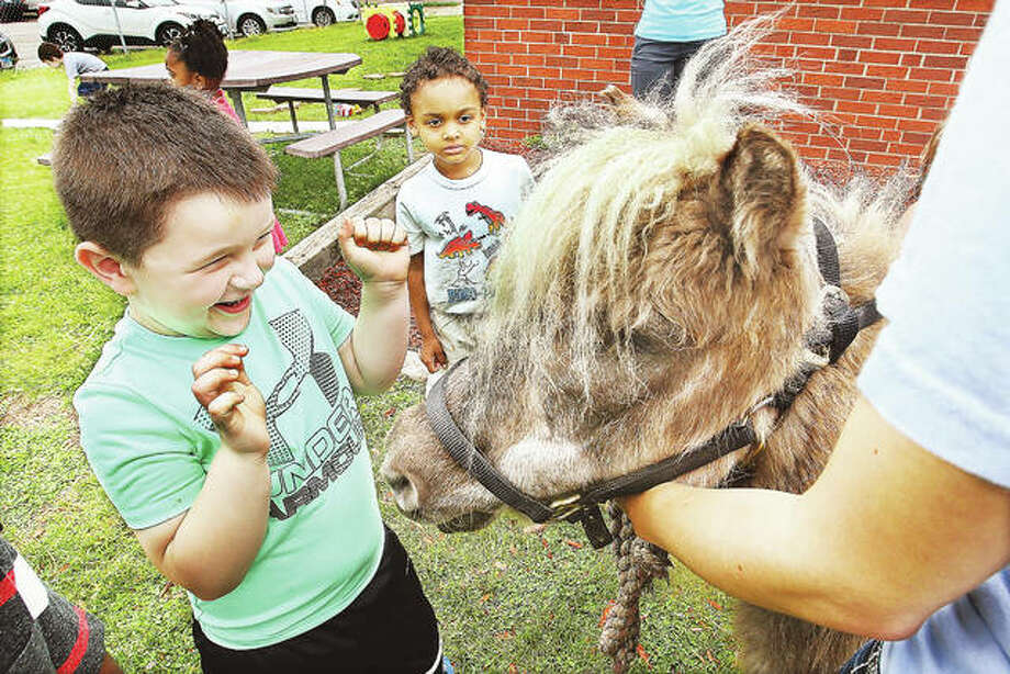 A student in the Alton Early Childhood program was very excited Tuesday to meet one of two miniature horses at Lewis and Clark School in Godfrey during their first Barnyard Day. Photo:       John Badman | The Telegraph