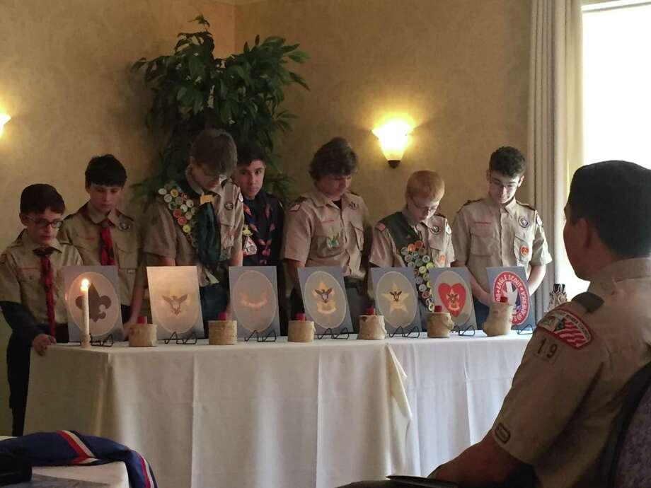 Paul Durstin Alderete and Liam Patrick Norton earned the rank of Eagle Scout from Boy Scout Troop 19 in New Hartford. They were recognized during their joint Eagle Scout Court of Honor at Chatterley's Banquet Facility on Sunday, May 13. Photo: Cathie Norton / Contributed Photo