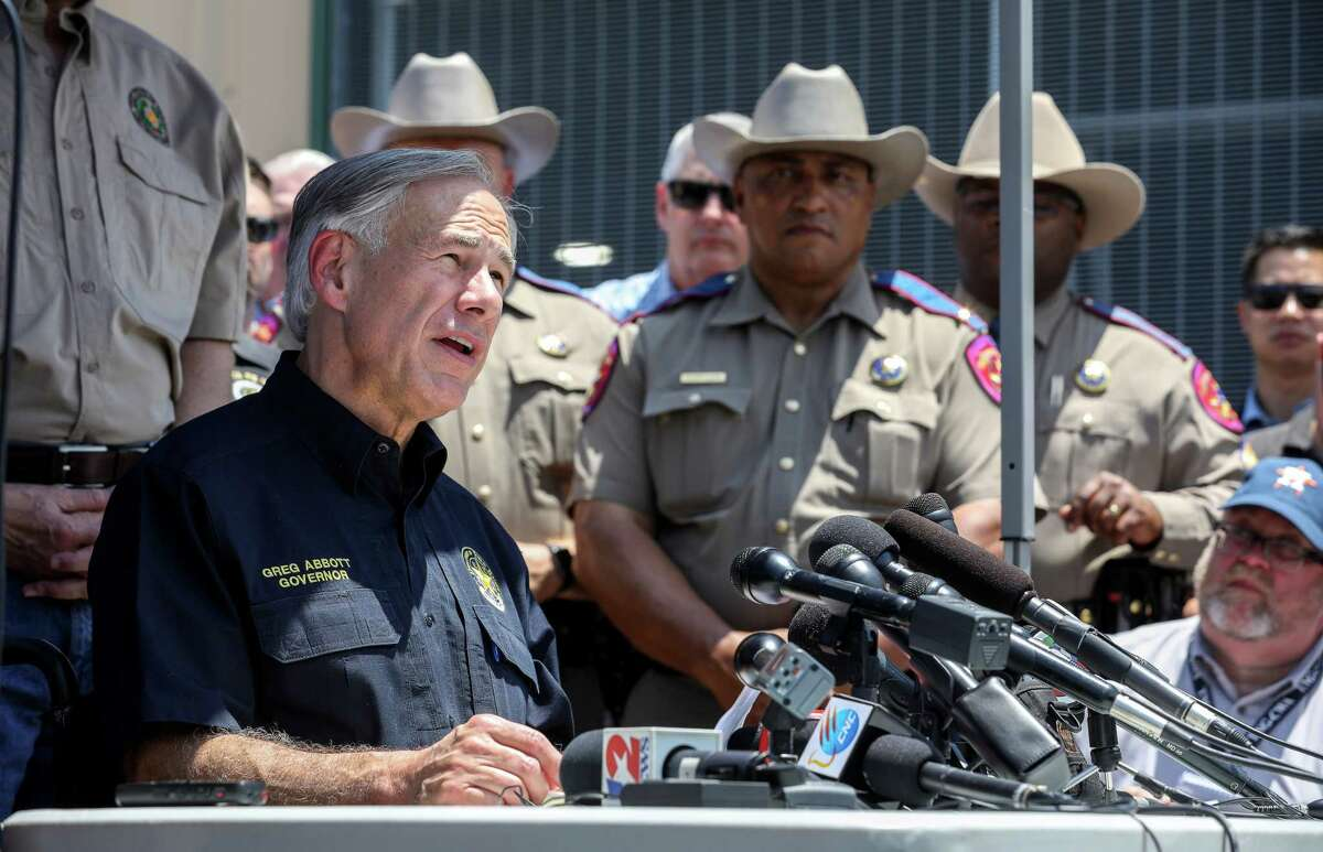 Texas Governor Greg Abbott speaks about the shooting at Santa Fe High School, during a press conference at the Santa Fe ISD Agricultural Center Friday, May 18, 2018, in Santa Fe.