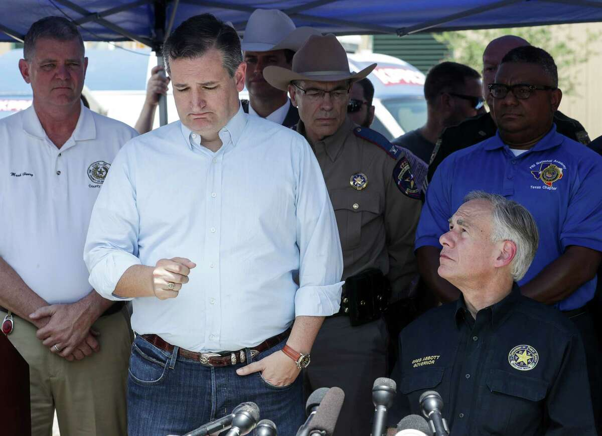"""""""Once again, Texas has seen the face of evil,"""" Senator Ted Cruz told reporters in Santa Fe following the deadly school shooting on Friday. """"What happened this morning here in Santa Fe defies words."""" See photos of Santa Fe High school following the shooting."""