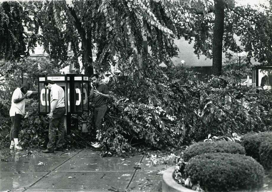 This file photo from July 10, 1989, shows damage to the Waterbury Green after a tornado swept from the northwest corner of the state to New Haven, leveling homes, snapping trees and leaving a trail of fear. (AP Photo/The Republican- American, Steve Valenti) Photo: STEVEN VALENTI / AP / Republican-American