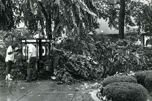 This file photo from July 10, 1989, shows damage to the Waterbury Green after a tornado swept from the northwest corner of the state to New Haven, leveling homes, snapping trees and leaving a trail of fear. (AP Photo/The Republican- American, Steve Valenti)