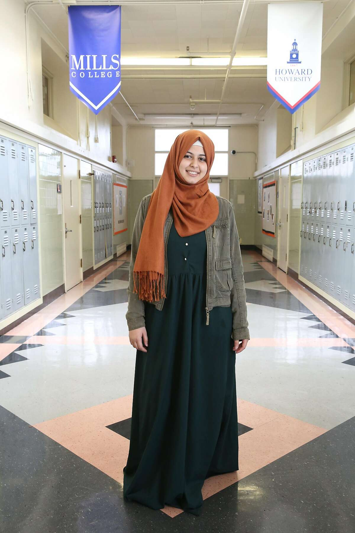 Senior student Haifa Algabri, 17 years old, at McClymonds High School as she talks about attending Mills College after graduating on Friday, May 18, 2018 in Oakland, Calif.
