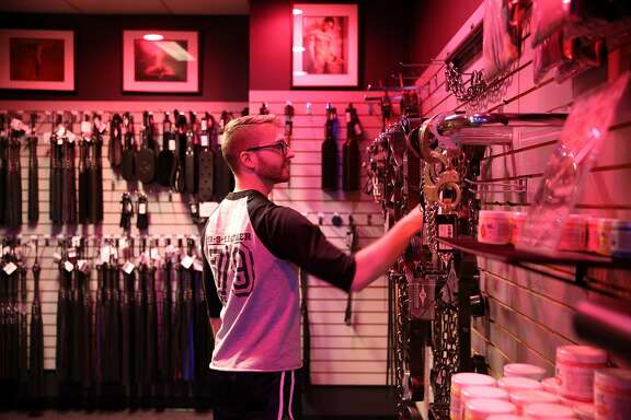 Clark Allen, the assistant manager, at Mr. S Leather, Thursday, May 17, 2018, in San Francisco, Calif.