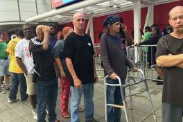 More than 9,100 Houston area residents sought shelter at the George R. Brown Convention Center.