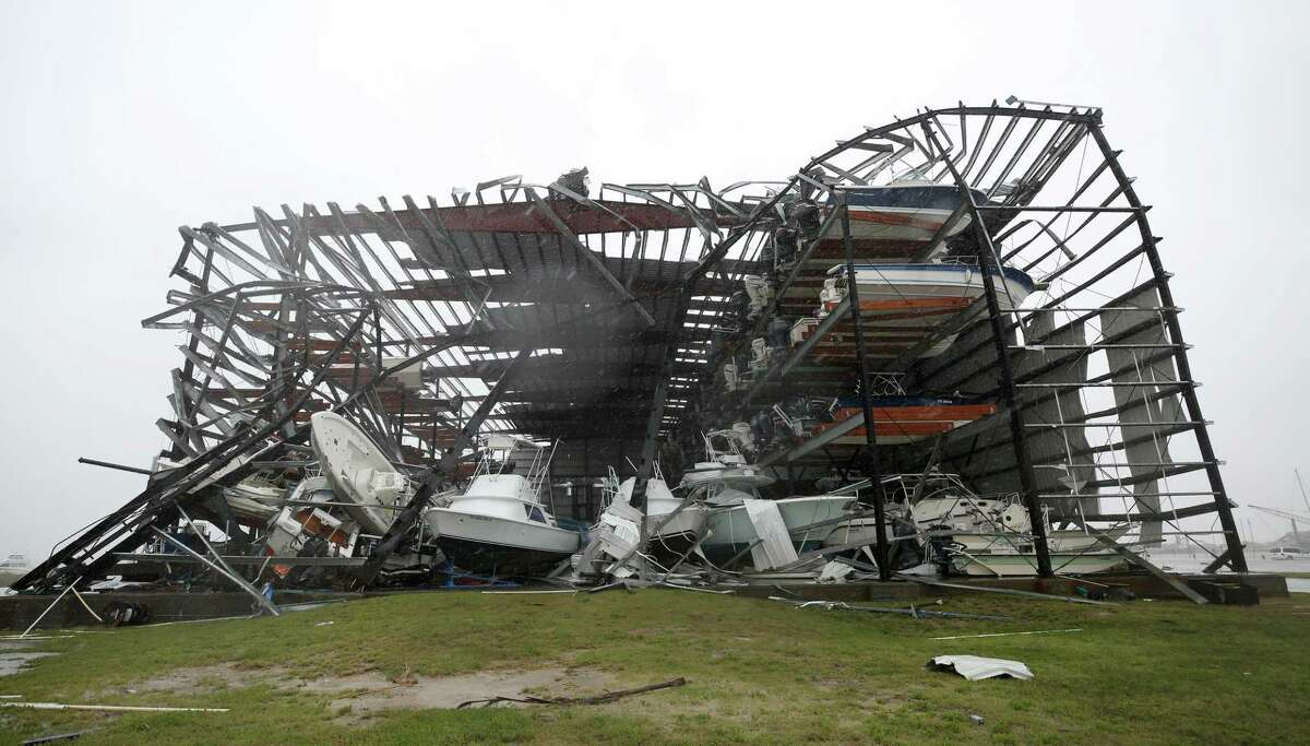 What remains of House of Boats boat yard after Hurricane Harvey made landfall Saturday, Aug. 26, 2017, in Rockport, Texas. ( Godofredo A. Vasquez / Houston Chronicle )