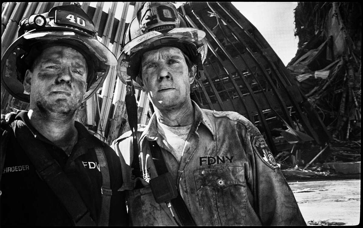 Two firemen at the site of the World Trade Center.