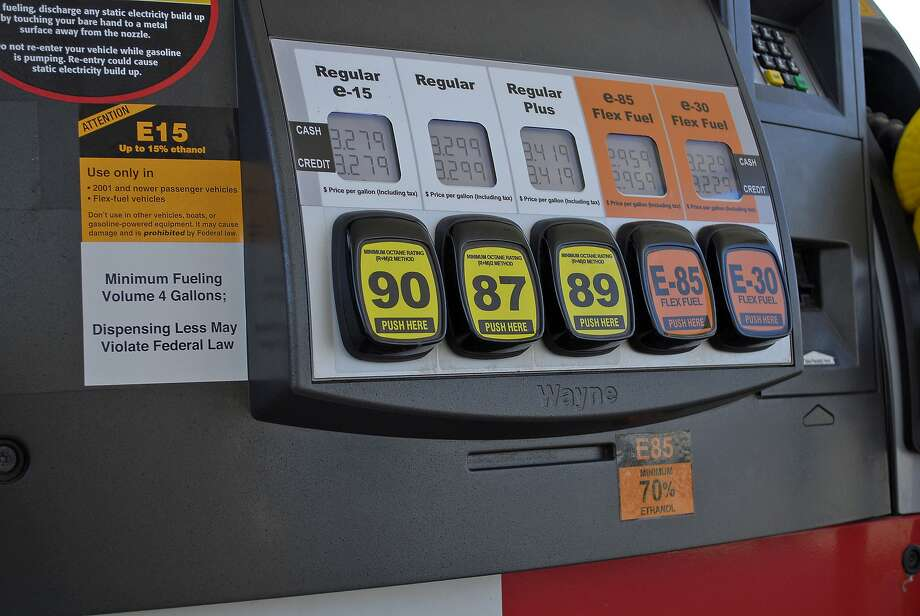 This July 11, 2012, handout photo provided by the Renewable Fuels Association shows a Lawrence, Kansas, fueling station pump with various grades of fuel, including E15, which contains 5 percent more ethanol than the current 10 percent norm sold at most U.S. gas stations. Photo: Robert White, Associated Press