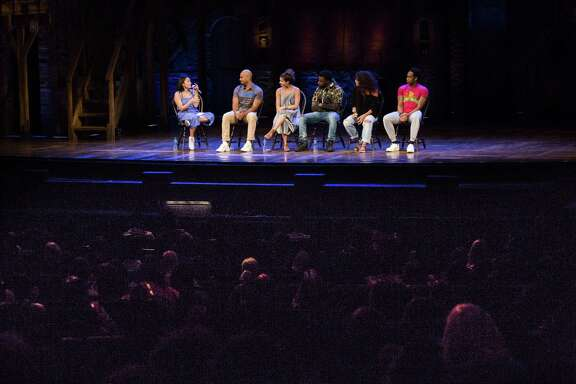 Hamilton cast answer questions from Houston students during the EduHam Program, Thursday, May 17, 2018, in Houston. ( Marie D. De Jesus / Houston Chronicle )
