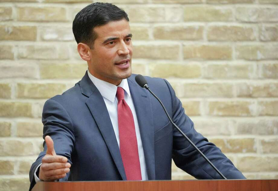 District Attorney Nico LaHood participates in a debate during the primary election. A new Netflix series features Bexar County District Attorney Nico LaHood grappling with the 1996 murder of his brother. Photo: Darren Abate /