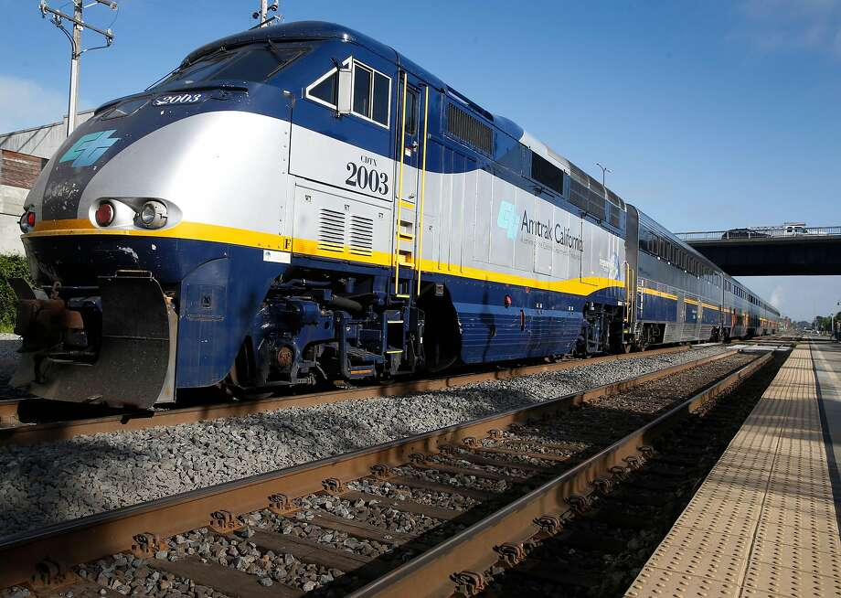 A Capitol Corridor train destined for Sacramento arrives at the Amtrak station in Berkeley, Calif. on Thursday, May 10, 2018. Photo: Paul Chinn / The Chronicle