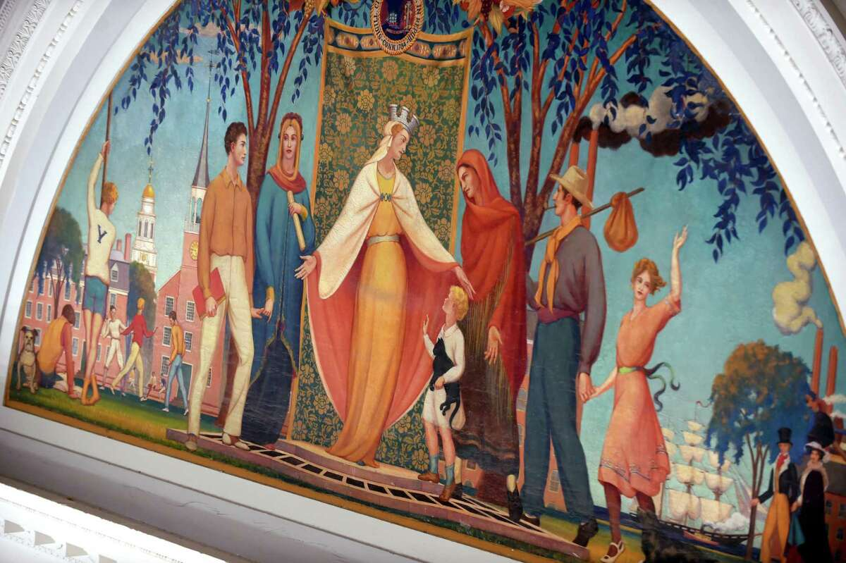 """The mural by Bancel Lafarge and Louis Agostini, """"The Personification of New Haven Receiving New Immigrants and Learning,"""" at the New Haven Free Public Library."""