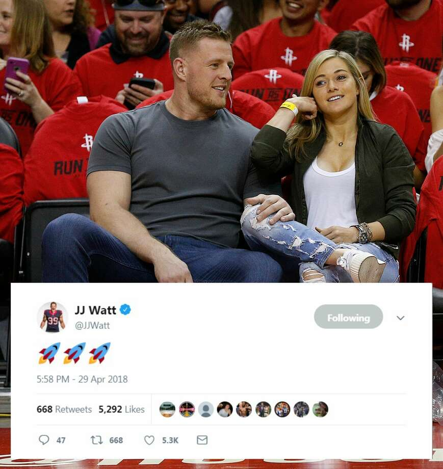 PHOTOS: Which Houston athletes are showing their support for the Rockets during the playoffs The Texans' J.J. Watt showed his support for the Rockets on Twitter. Photo: Twitter