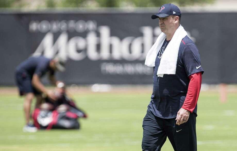Houston Texans head coach Bill O'Brien walks across the field during rookie mini camp at The Methodist Training Center on Friday, May 11, 2018, in Houston. ( Brett Coomer / Houston Chronicle ) Photo: Brett Coomer, Staff / Houston Chronicle / © 2018 Houston Chronicle