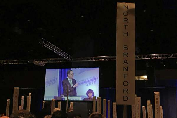Gov. Dannel P. Malloy addressed his party at the state Democratic Convention at the Connecticut Convention Center in Hartford, Conn. on Friday May 18, 2018.