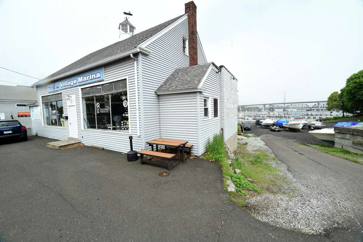 Dan Bagley and Bob Chicoine have plans to build Dockside, a waterfront biergarten and brewery, at this location on Bridgeport Avenue in Milford.
