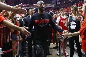 Houston Rockets guard Chris Paul (3) leaves the court after winning Game 2 of the Western Conference Finals at the Toyota Center, Wednesday, May 16, 2018, in Houston. ( Michael Ciaglo  / Houston Chronicle )