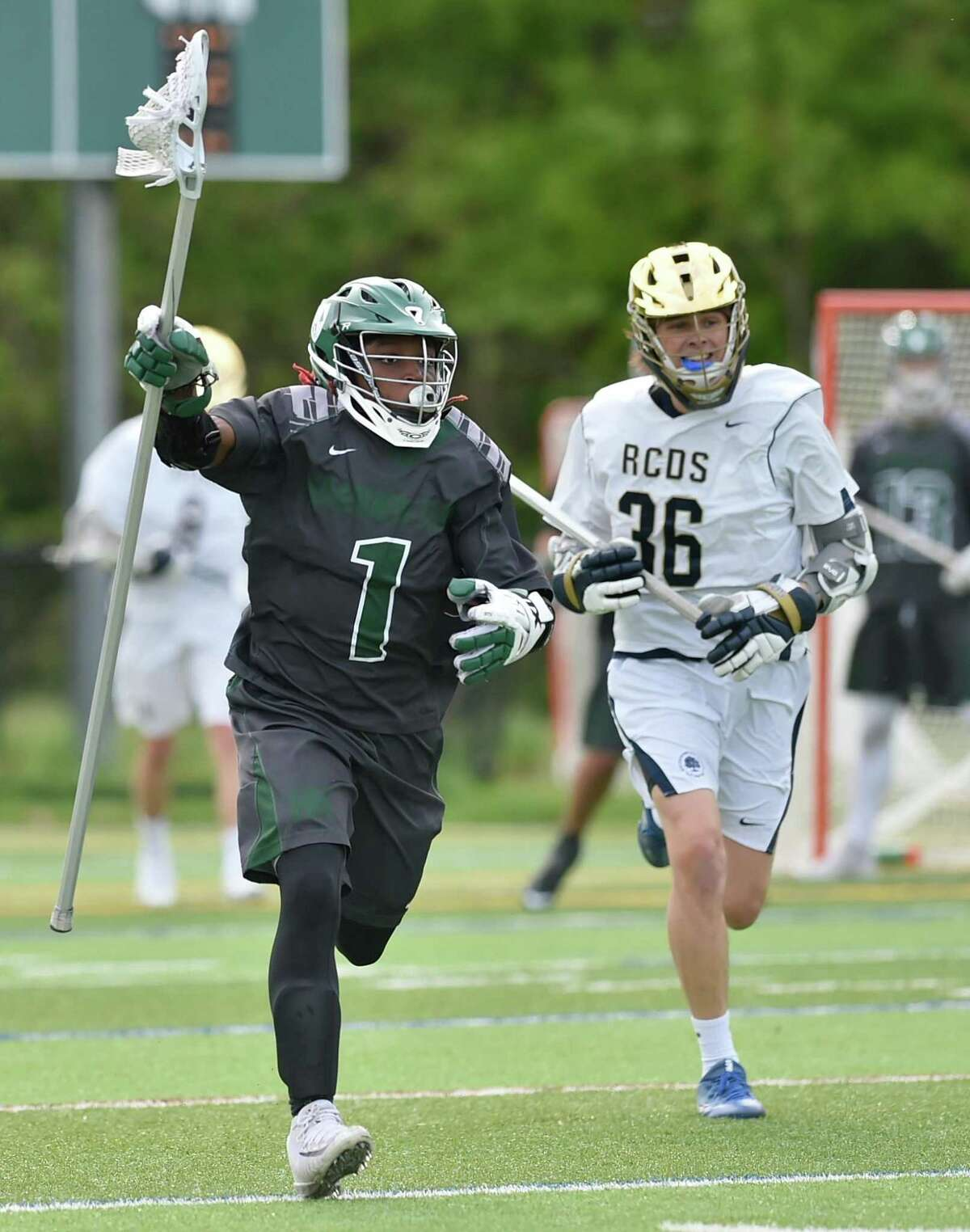 Hamden, Connecticut - Friday, May 18, 2018: Hamden Hall lacrosse vs. Rye Country Day School in the Fairchester Athletic Association championship Friday at Hamden Hall. Hamden Hall defeated Rye Country Day School 9-7.