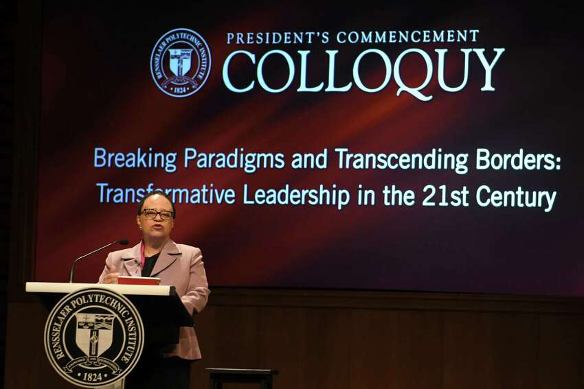 Rensselaer Polytechnic Institute President Shirley Ann Jackson introduces the panel before moderating President's Commencement Colloquy at EMPAC at RPI on Friday, May 18, 2018 in Troy, N.Y. (Lori Van Buren/Times Union)
