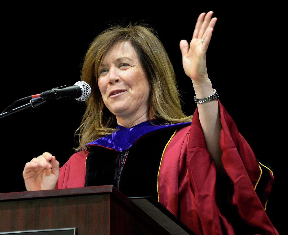 President and Dean Alicia Ouellette addresses graduates during Albany Law School's 167th Commencement at SPAC Friday May 16, 2018 in Saratoga Springs, NY. (John Carl D'Annibale/Times Union)
