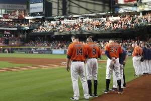 Houston Astros observe a moment of silence with a blank screen for the shooting victims and survivors of today's incident at Santa Fe High School before the start of an MLB baseball game at Minute Maid Park, Friday, May 18, 2018, in Houston. ( Karen Warren  / Houston Chronicle )
