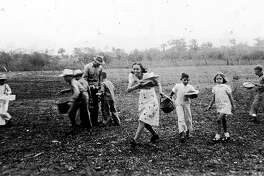 The Americans brought their customs and holidays to Mexico when they arrived in the early 20th Century. Here their enjoy an Easter egg hunt in a plowed field near Chamal, Mexico. Photo Courtesy of Blalock Mexico Colonyi Project.