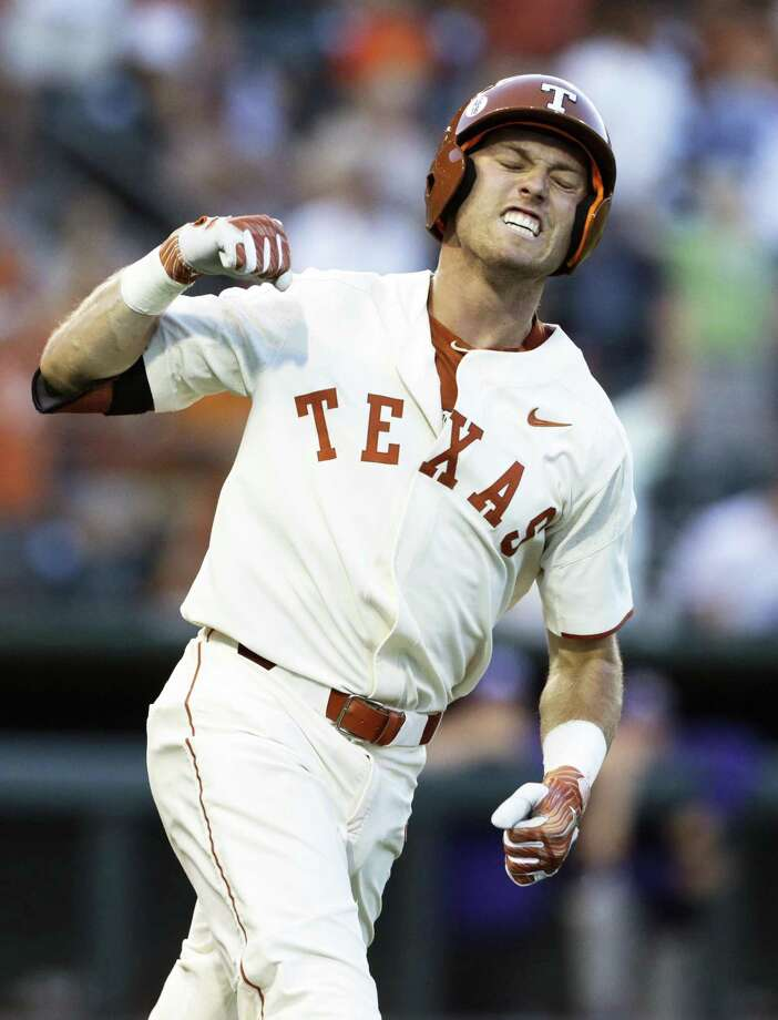 Kody Clemens fist pumps on the baseline after his shot to right field clears the fence for a 2 run homer to tie the game 3-3 in the fifth inning as UT hosts TCU in men's baseball at Disch-Falk Field on May 18, 2018. Photo: Tom Reel, Staff / San Antonio Express-News / 2017 SAN ANTONIO EXPRESS-NEWS