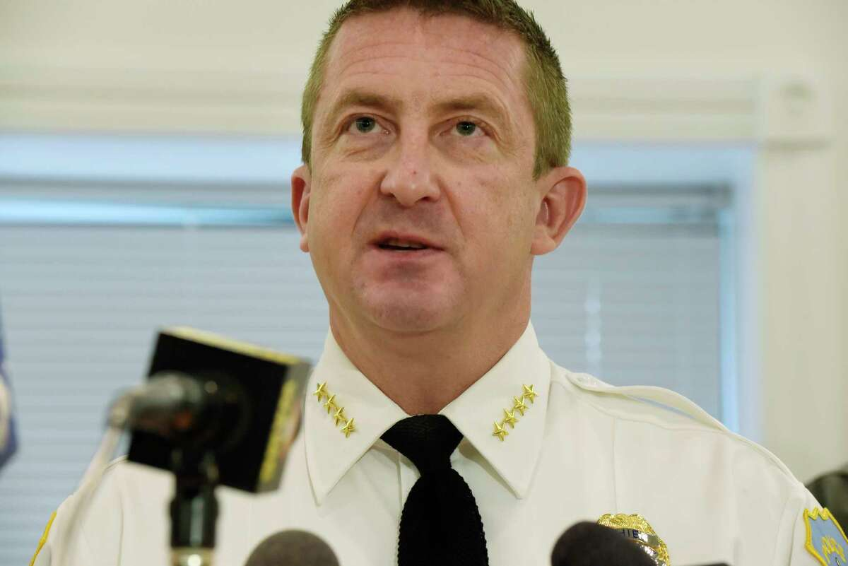 Schenectady Police Chief Eric Clifford talks about the murder of Suzanne Nauman during a press conference on Monday, Oct. 16, 2017, in Schenectady, N.Y. Nauman was murdered in 1995. (Paul Buckowski / Times Union)