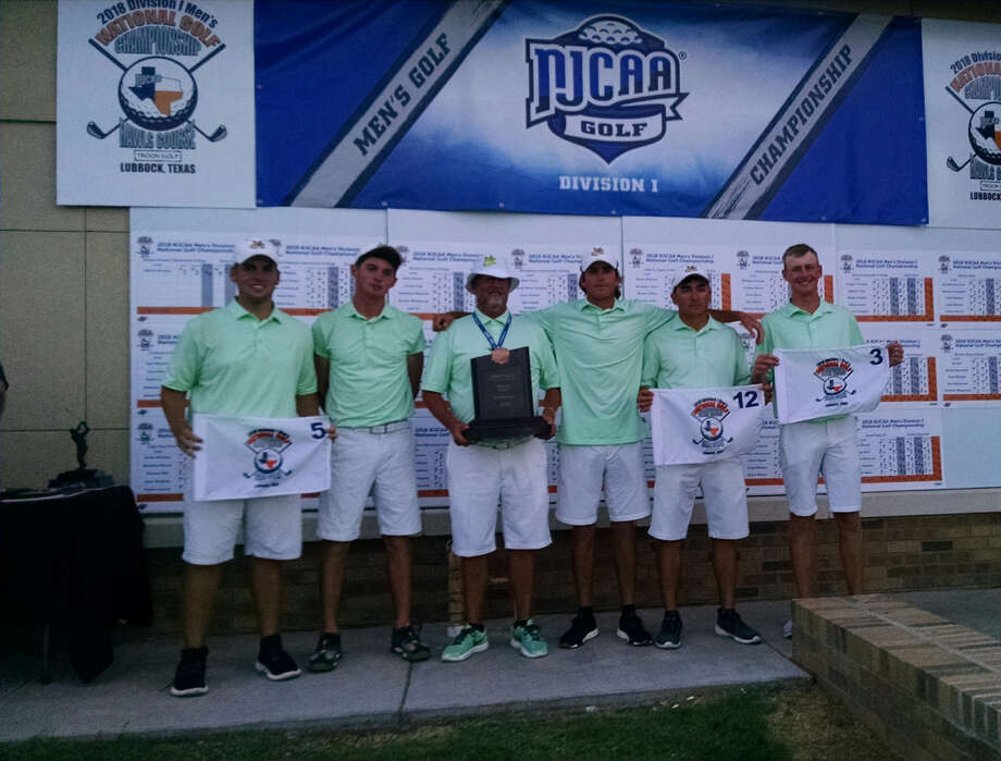 The Midland College men's golf team accepts the third place trophy at the NJCAA Division I Golf Championship at The Rawls Course in Lubbock. From left, Alex Motes, Chris Ayers, coach Walt Williams, Tommy Parker and Callum Bruce. Oscar LeRoy/Reporter-Telegram.