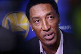 Former NBA star Scottie Pippen talks with the media as NBA Golden State Warriors hold practice in downtown  Oakland, Ca.on Fri. May 18, 2018.