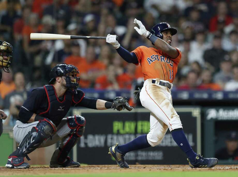 Astros' recent addition Tony Kemp strokes a ground-rule double during the seventh inning against the Indians on Friday night at Minute Maid Park. Photo: Karen Warren, Staff / Houston Chronicle / © 2018 Houston Chronicle