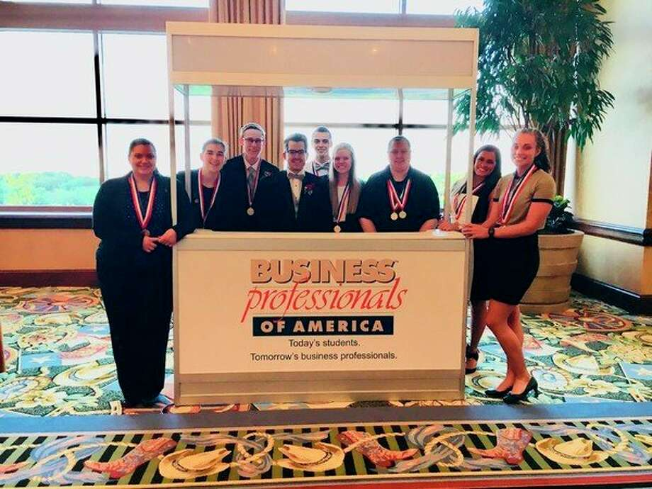 Northwood University's Business Professionals of America team at the National Leadership Conference May 9-13, 2018 in Dallas, Texas. Left to right: Sara Brown, Hannah Ex, Jon Perrault, Jacob Taylor, David Burkhardt, Katie Keith, Shelby Slazakowski, Jordan McCallister, Morgan Bolinger.