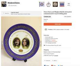 This hilarious plate with pictures of Markle and Ed Sheeran is selling for $45 on Etsy.